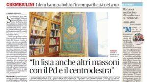 """Articolo de """"Il Fatto Quotidiano"""" sui Massoni candidati alle elezioni"""