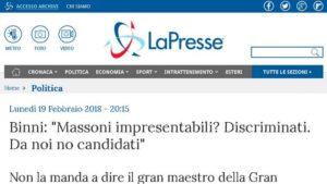 """Intervista di """"LaPresse"""" al Gran Maestro sui Massoni candidati alle elezioni"""