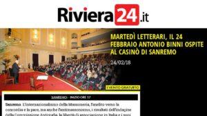 Riviera24.it : Antonio Binni ospite al Casinò di Sanremo