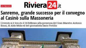 Riviera24.it : Sanremo, grande successo per il convegno al Casinò sulla Massoneria