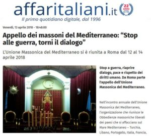 """Affaritaliani.it : Appello dei massoni del Mediterraneo: """"Stop alle guerre, torni il dialogo"""""""