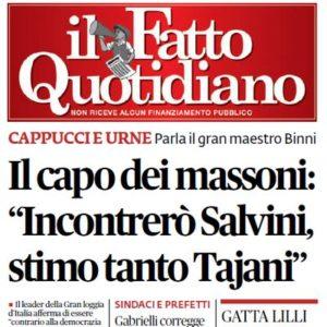 """il Fatto Quotidiano - Il capo dei massoni: """"Incontrerò Salvini, stimo tanto Tajani"""""""