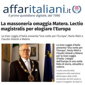 AffariItaliani.it - La Massoneria omaggia Matera. Lectio magistralis per elogiare l'Europa