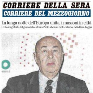 Corriere della Sera - La lunga notte dell'Europa unita, i massoni in città