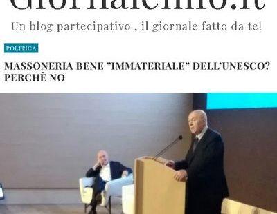 """Giornalemio.it – Massoneria bene """"immateriale"""" dell'UNESCO? Perché no"""