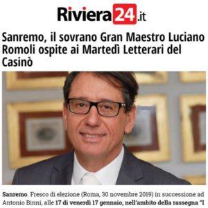 Riviera24.it - Sanremo, il sovrano Gran Maestro Luciano Romoli ospite ai Martedì Letterari del Casinò