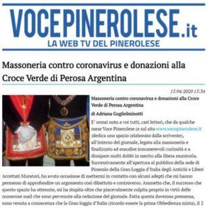 VocePinerolese.it - Massoneria contro coronavirus e donazioni alla Croce Verde di Perosa Argentina