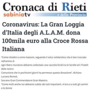 SabiniaTV - Coronavirus: La Gran Loggia d'Italia degli A.L.A.M. dona 100mila euro alla Croce Rossa Italiana