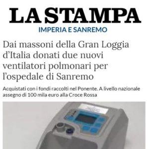 La Stampa - Dai massoni della Gran Loggia d'Italia donati due nuovi ventilatori polmonari per l'ospedale di Sanremo
