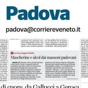 Corriere Veneto Padova - Mascherine e alcol dai massoni padovani