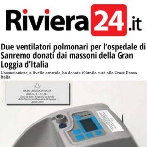 Riviera24.it - Due ventilatori polmonari per l'ospedale di Sanremo donati dai massoni della Gran Loggia d'Italia